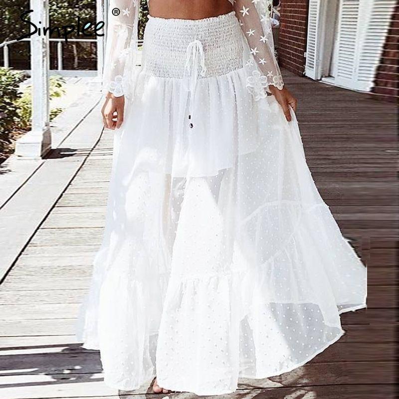 Simplee Mesh dot long skirt women Elastic smocking white lace skirt summer Sexy transparent hight waist maxi skirt 2018