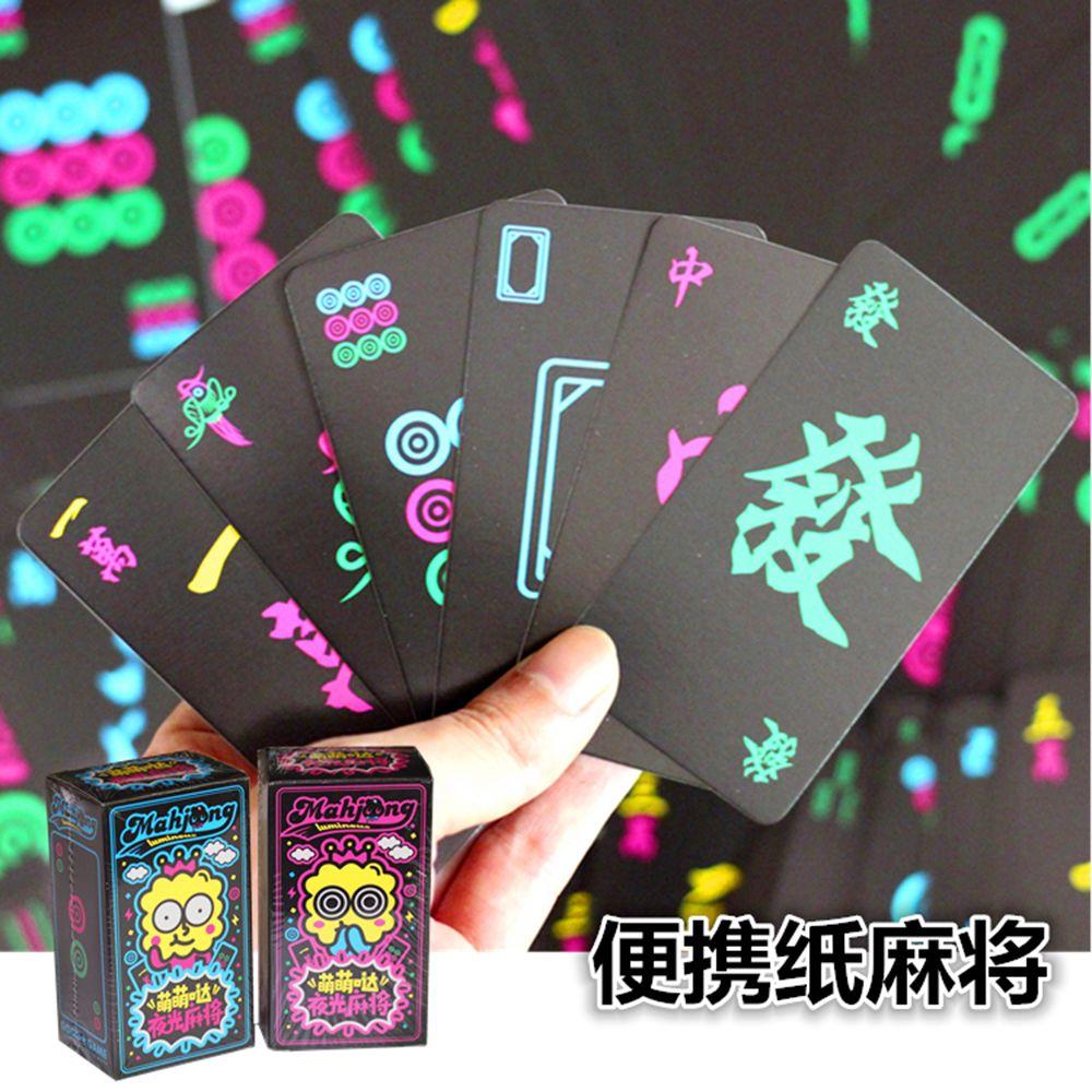 Poker Mahjong Papel luminoso Portátil Silent Night View Naipes Card Poker Mahjong Viajes Gorrión Mahjong Tarjeta Mini