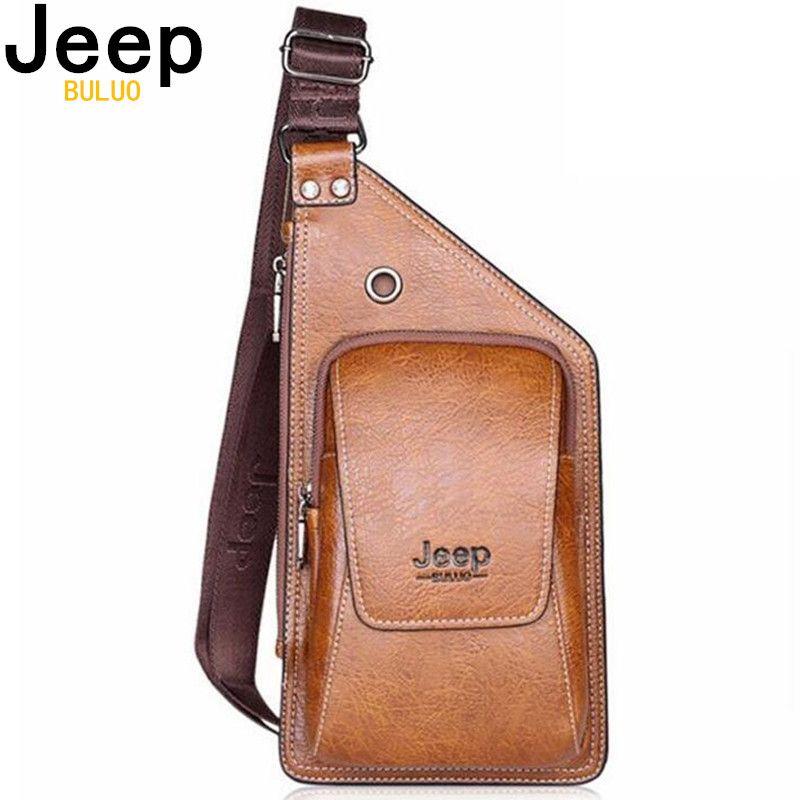 JEEP BULUO sac d'été hommes poitrine Pack unique bandoulière dos sacs en cuir voyage hommes bandoulière sacs Vintage poitrine sac 633