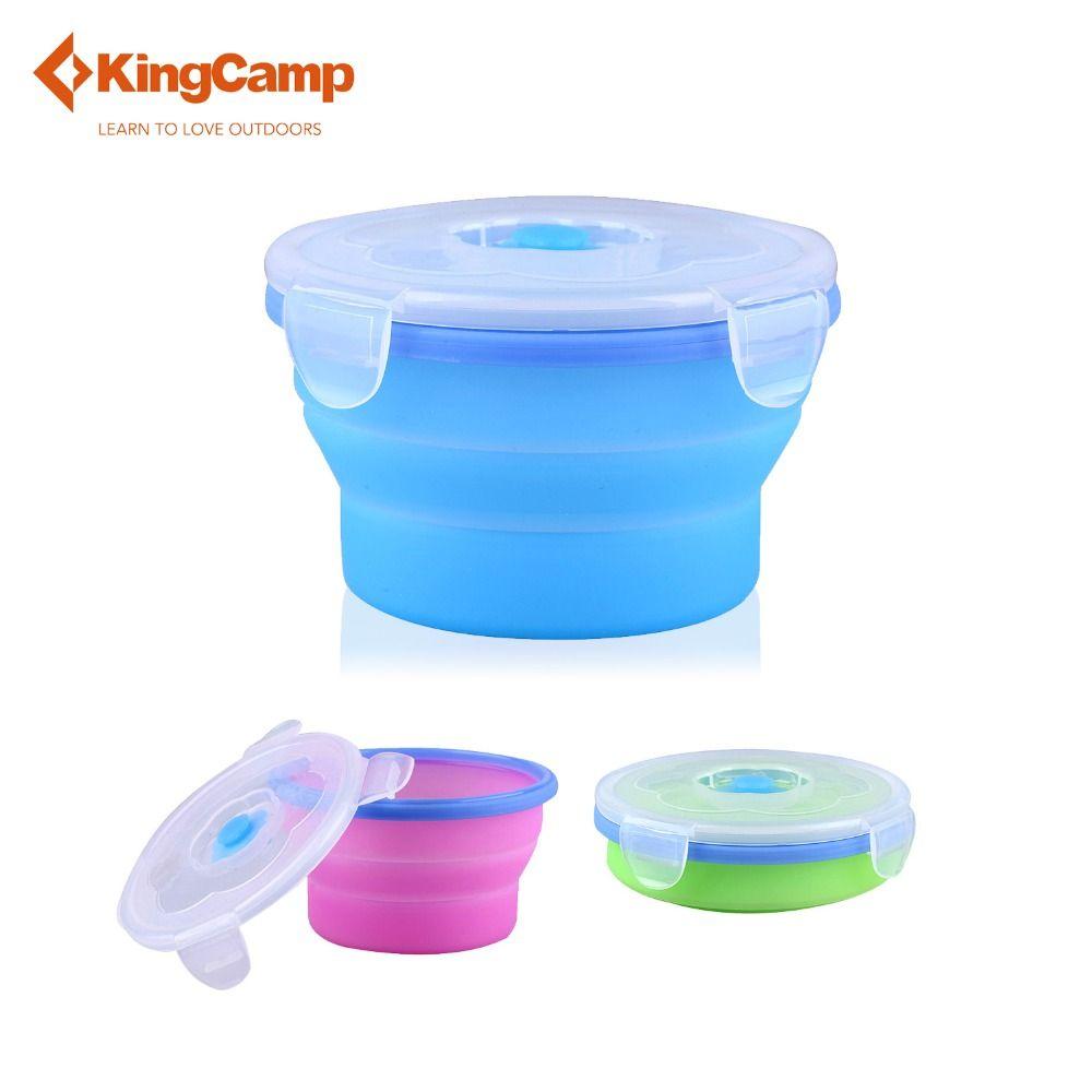 KingCamp Outdoor Silikon Faltbare Tasse mit Deckel Zusammenklappbare Reise Wandern Cup Bowl 540 ml (18,26 fl. oz) für Camping Picknick
