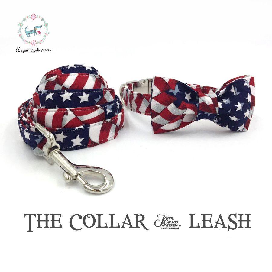 Les étoiles et les rayures collier de chien ou laisse ensemble avec noeud papillon coton chien & chat collier colliers de mariage
