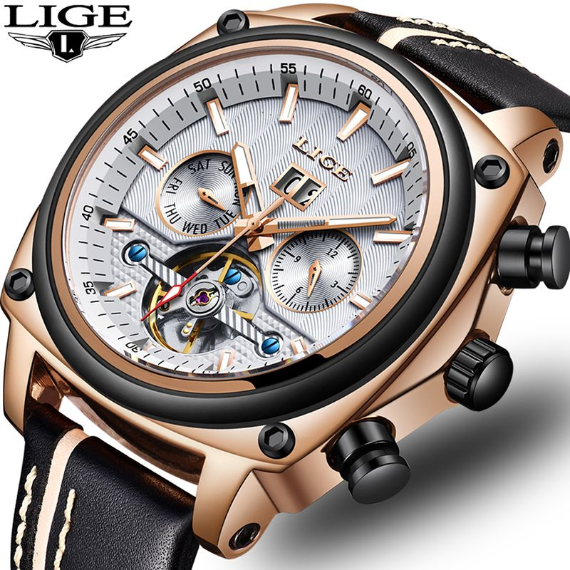 Relogio Masculino LIGE Top Brand Luxury Automatic Mechanical Watch Male Leather Waterproof Sport Watch Men Business Wristwatch