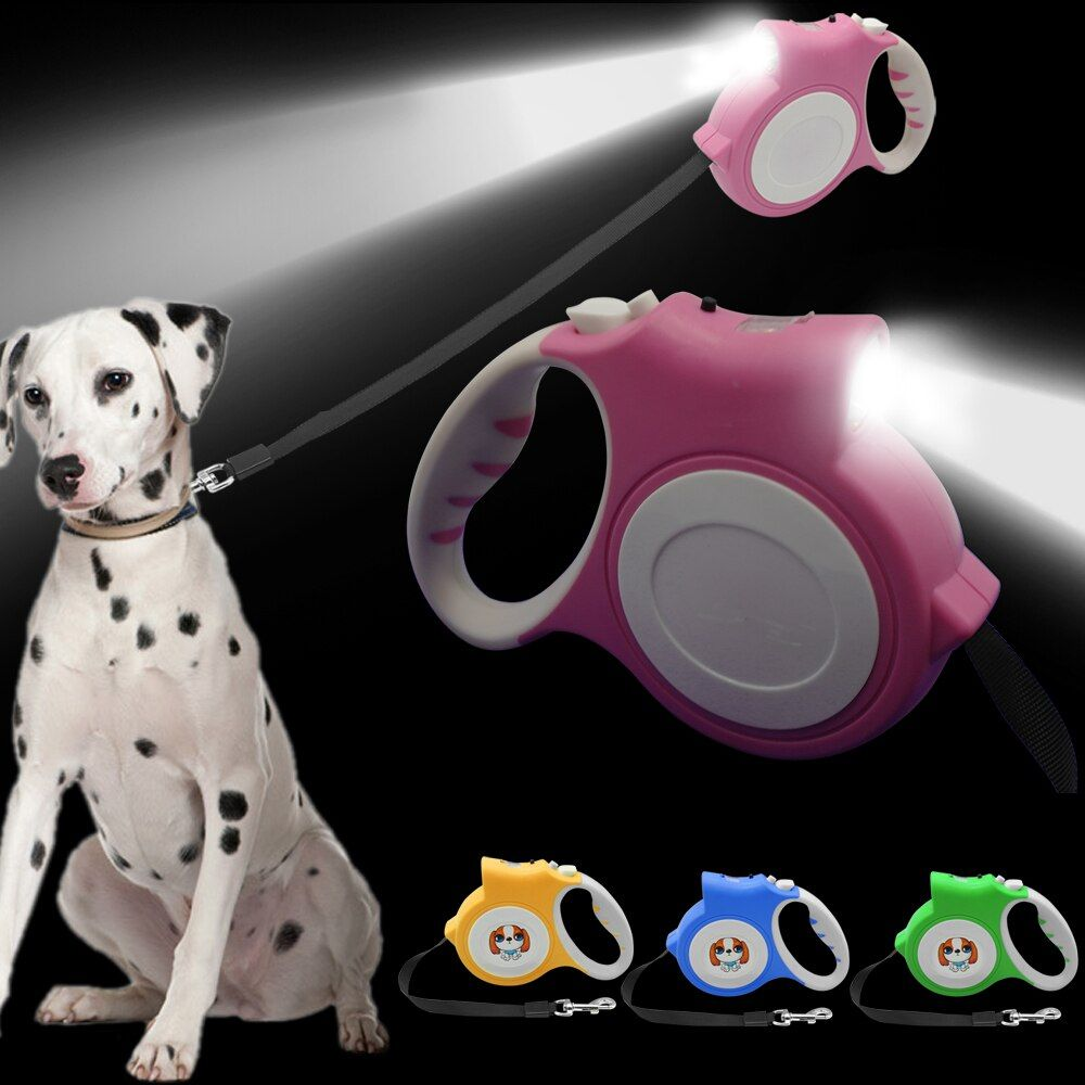 4.5M Retractable Dog Leash With Light <font><b>Bright</b></font> Flashlight Extending Puppy Walking Leads For Small Medium Dogs Up to 60lbs