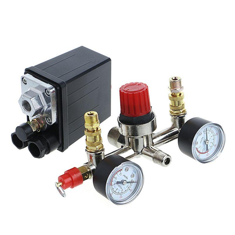 <font><b>Regulator</b></font> Heavy Duty Air Compressor Pump Pressure Control Switch + Valve Gauge