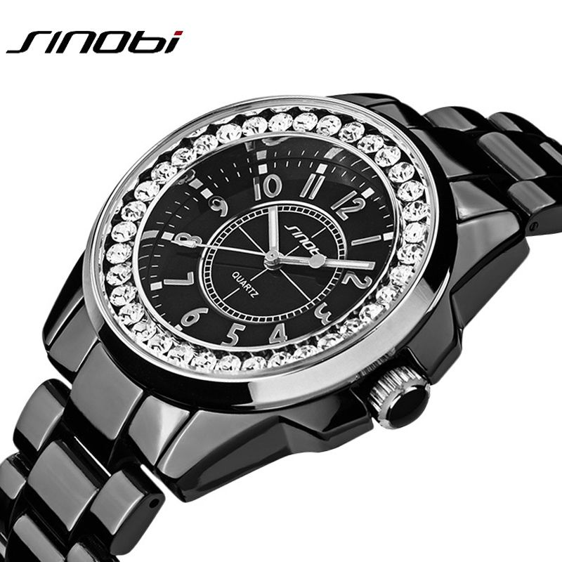 Sinobi luxury Dress Brand Fashion Watch Woman Ladies Gold Diamond <font><b>relogio</b></font> feminino Dress Clock female relojes mujer 2017 New