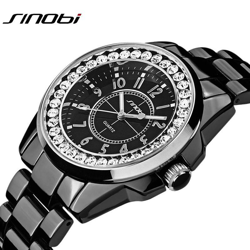 Sinobi luxury Dress Brand Fashion Watch Woman Ladies Gold Diamond relogio feminino Dress Clock female relojes mujer 2017 New