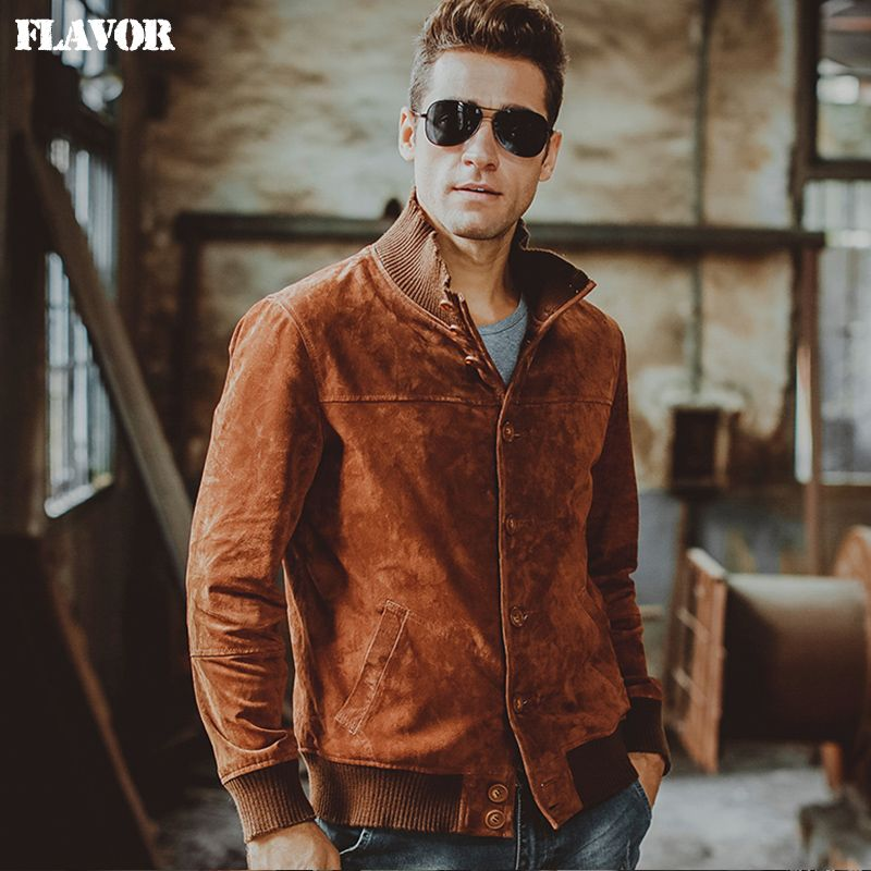 Men's Pigskin real leather jacket Genuine Leather jacket Elastic thread winter warm coat men motorcycle jackets 2 Colors