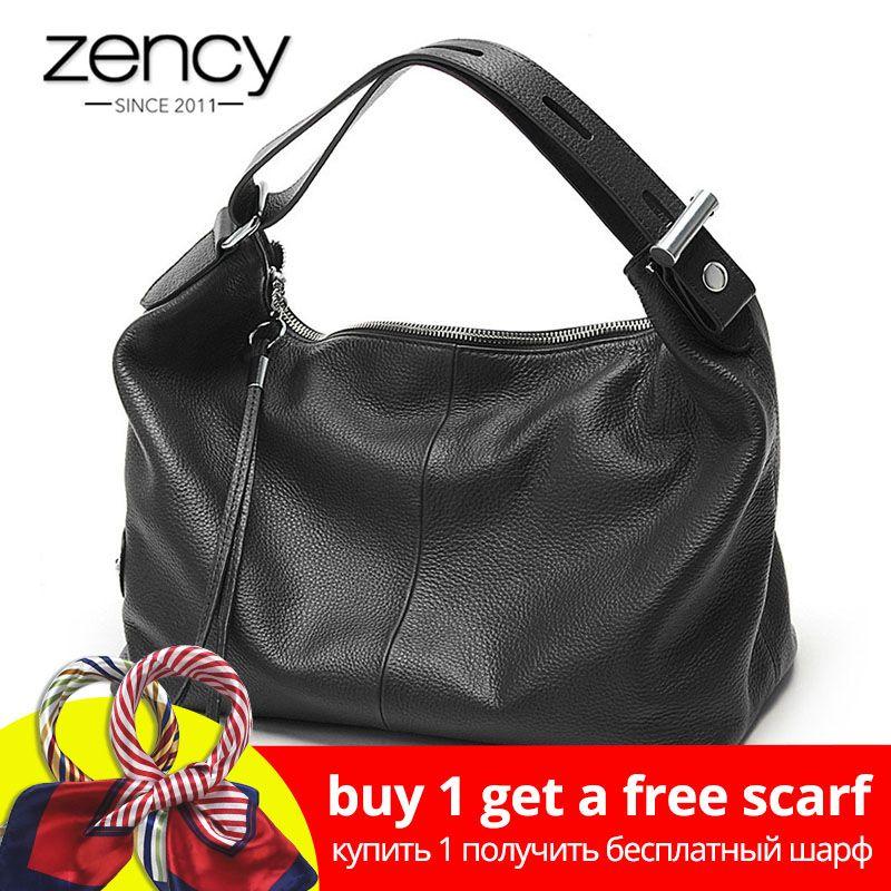 Zency 100% Genuine Leather OL Style Women Tote Bag Fashion Lady Shoulder Bags Classic Handbag Satchel Crossbody Messenger Purse