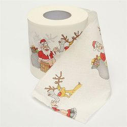 1 Roll Santa Claus Printed Merry Christmas Toilet Paper Tissue Table Room Decor Christmas Party Ornament DIY Craft Paper