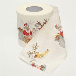 1 rollo Santa Claus impreso feliz Navidad papel higiénico tabla decoración Navidad partido ornamento DIY Artesanía de papel