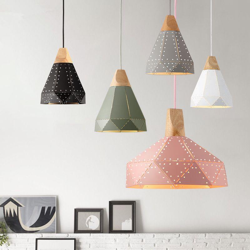Hängen lichter Nordic massivholz einfach restaurant bar nachttischlampe moderne eisen drei Amerikanischen LED Pendelleuchten