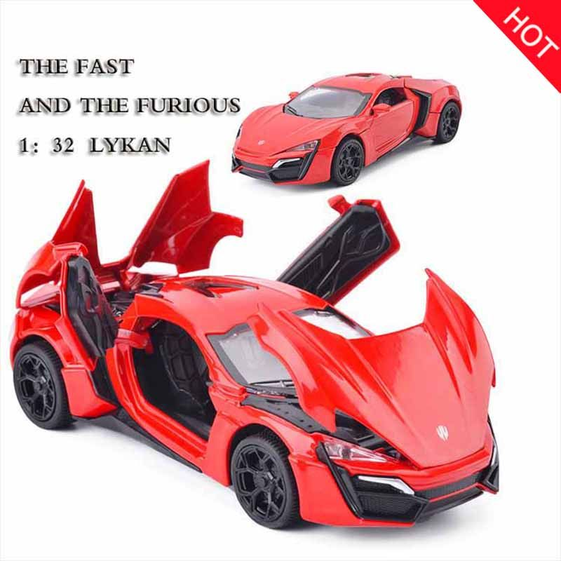 Hot 1:32 Fast & Furious Lykan Alloy Car Model Diecasts & Toy Vehicles Toy Car Metal Toy Kid Toys for Children Gift