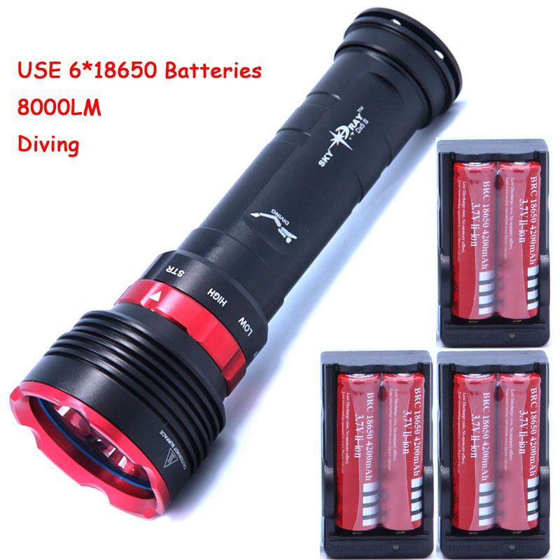diving 8000lm underwater flashlight 5 x cree XM-L L2 LED torch light waterproof brightness Lamp led Lantern +6*batteries+Charger