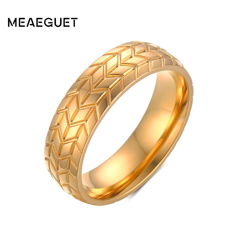 Meaeguet 6MM Men's Classic Stainless steel Tire Tread Ring Gold-Color Wedding Engagement Band Car Fans Love