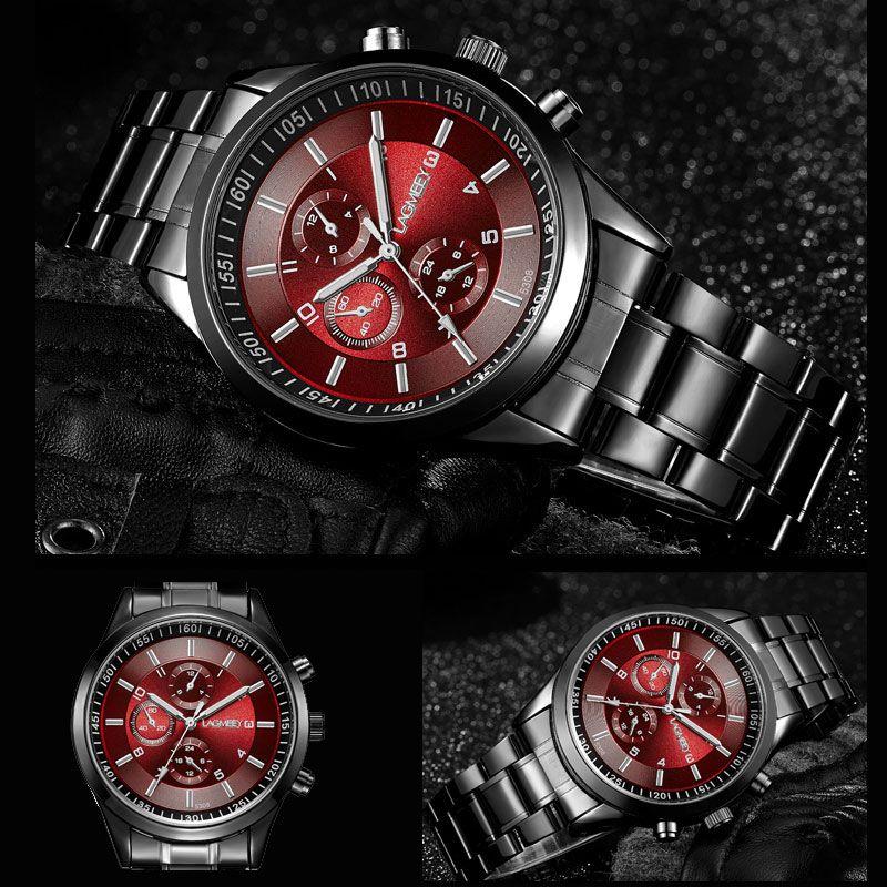 Lagmeey famosos marca metal negro reloj de cuarzo hombres de acero inoxidable deporte relojes hombres impermeable reloj 2017 Relogio Masculino