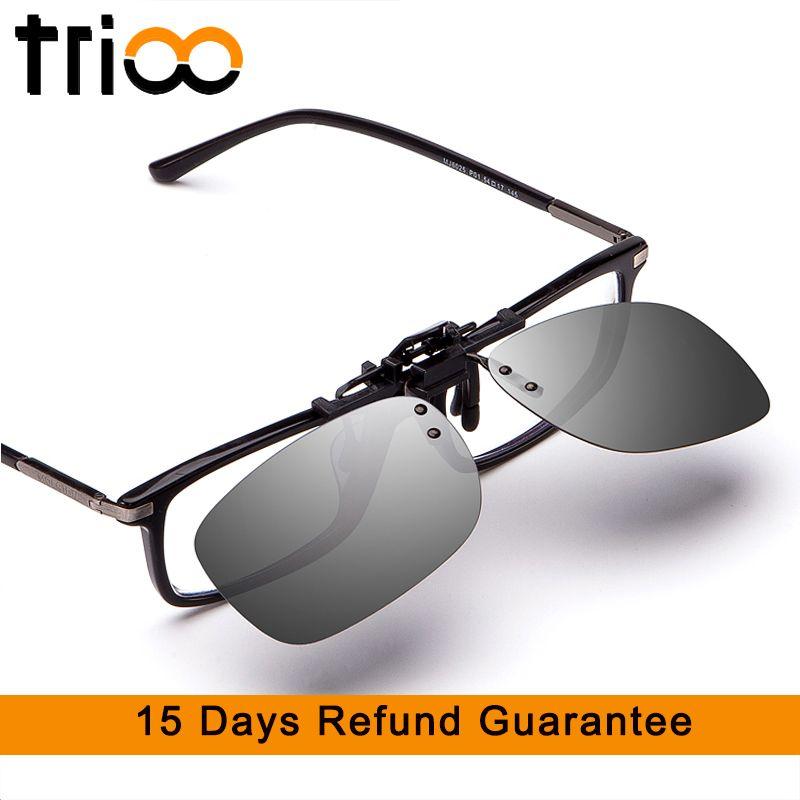 TRIOO conduite lunettes de soleil Clip hommes Flip Up lentille pour lunettes cadre jaune nuit pilote lunettes UV400 Anti-éblouissement nuances mâle