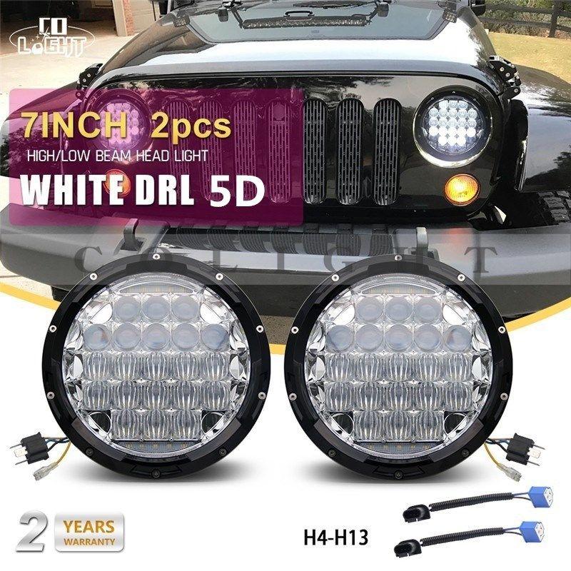 CO LIGHT 1 Pair 7 Inch Headlights 70W 35W Angel Eyes 12V 24V Auto Off Road Running Lights for Lada Niva Uaz 452 469 Jeep Hummer