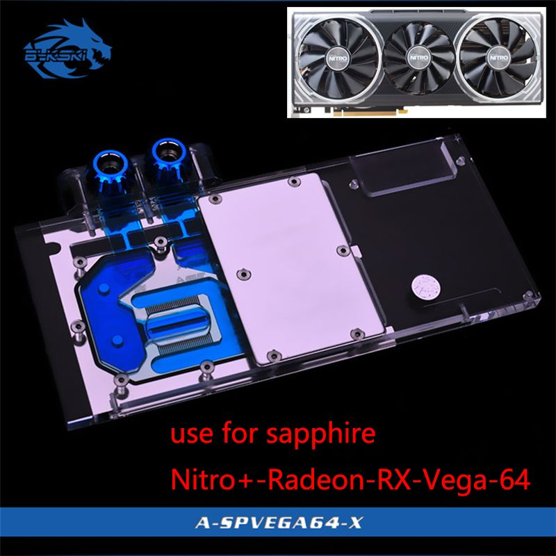 Bykski Water Block use for Sapphire Nitro+ Radeon RX Vega 64 8GB HBM2 (11275-03-40G) Full Cover GPU Copper Block Radiator RGB