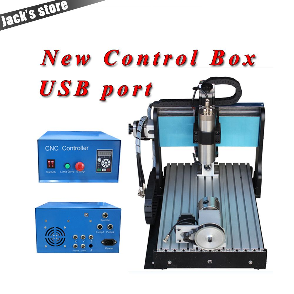 USB port !!! 3040Z-S++ (4-axis), CNC 3040 800WSpindle+1.5kw VFD CNC Router water-cooling+4axis Metal engraving machine CNC3040