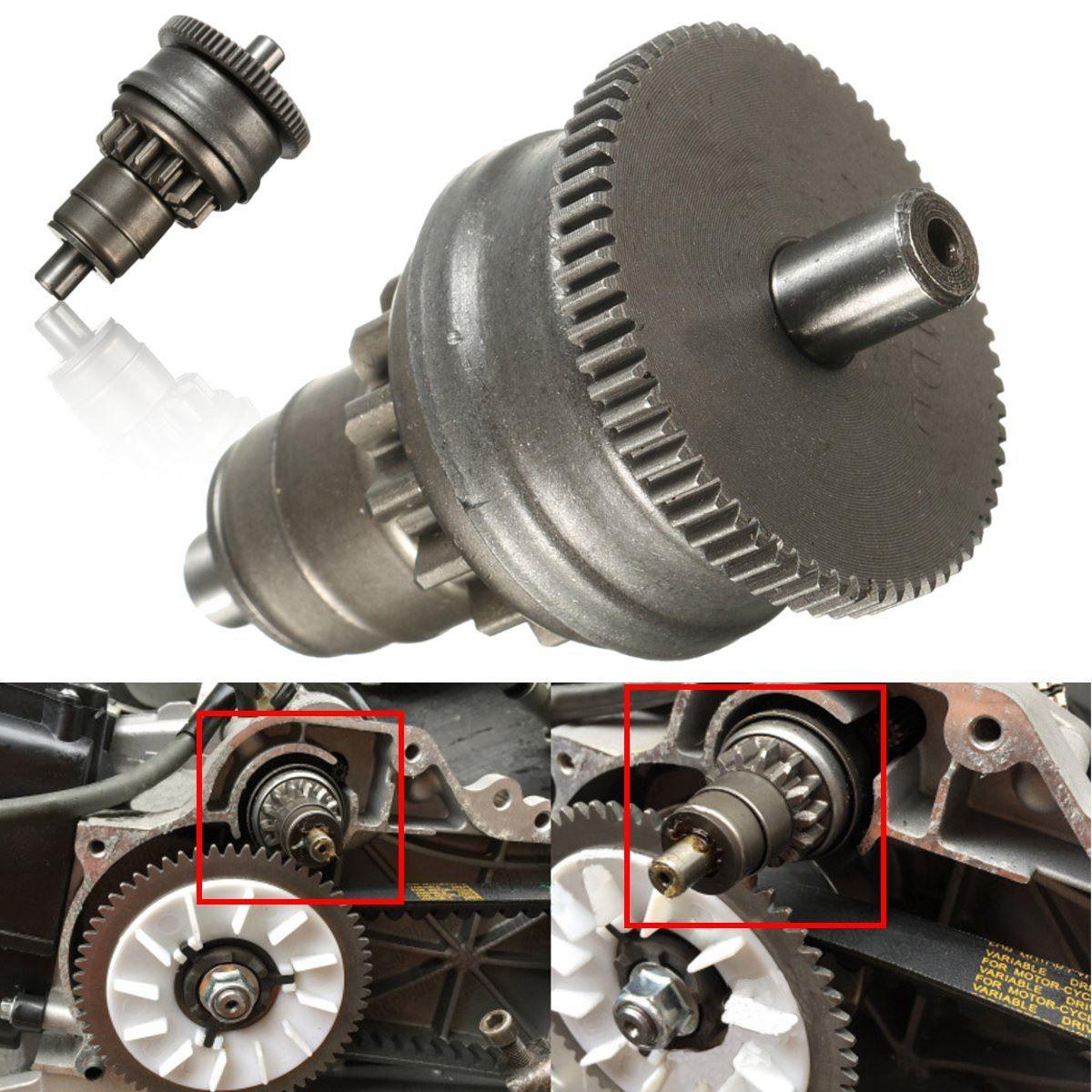 Chrom Starter Motor Kupplung Getriebe Montage Für GY6 49cc 50cc 139QMB Roller Mopeds ATV