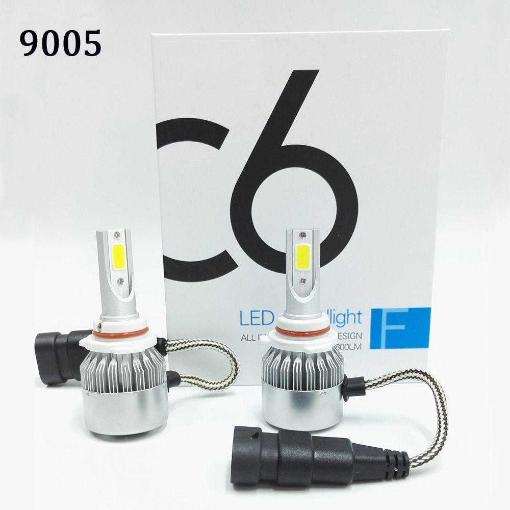 2 pcs All In One C6 Car Led Headlight H1 H3 H7 H9 H11 H4 H13 9004 9005 9006 9007 880 72w 7600lm 6000K LED Car Bulb Auto Headlamp