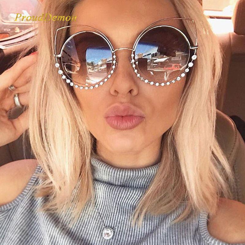 2019 Mode Sexy De Luxe Cat Eye lunettes de Soleil Femmes Revêtement Réfléchissant Miroir Diamant Décoration Lunettes de soleil Femme Shades UV400