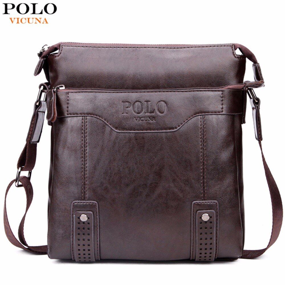 VICUNA POLO Vintage Unique Hollow Bottom Leather Man Bag With Rivet Soft Brand Men Leather Messenger Bag Fashion Shoulder Bags