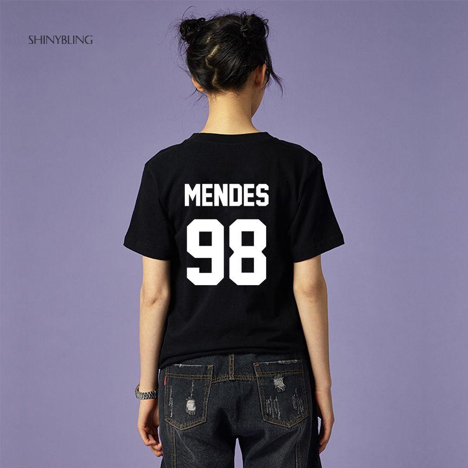 Noir Blanc Gris Rose Plus-Taille-Mode pour Shawn Mendes 98 Haute Qualité Lettre Impression Graphique Coton t chemises femmes 2018 d'été