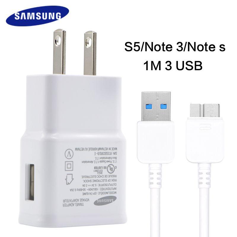 Rapide chargeur voyage chargeur samsung galaxy s5 note 3 100% D'origine Adaptieve Charge Rapide 5.3 V 2A prise De Charge USB 3.0 câble s5