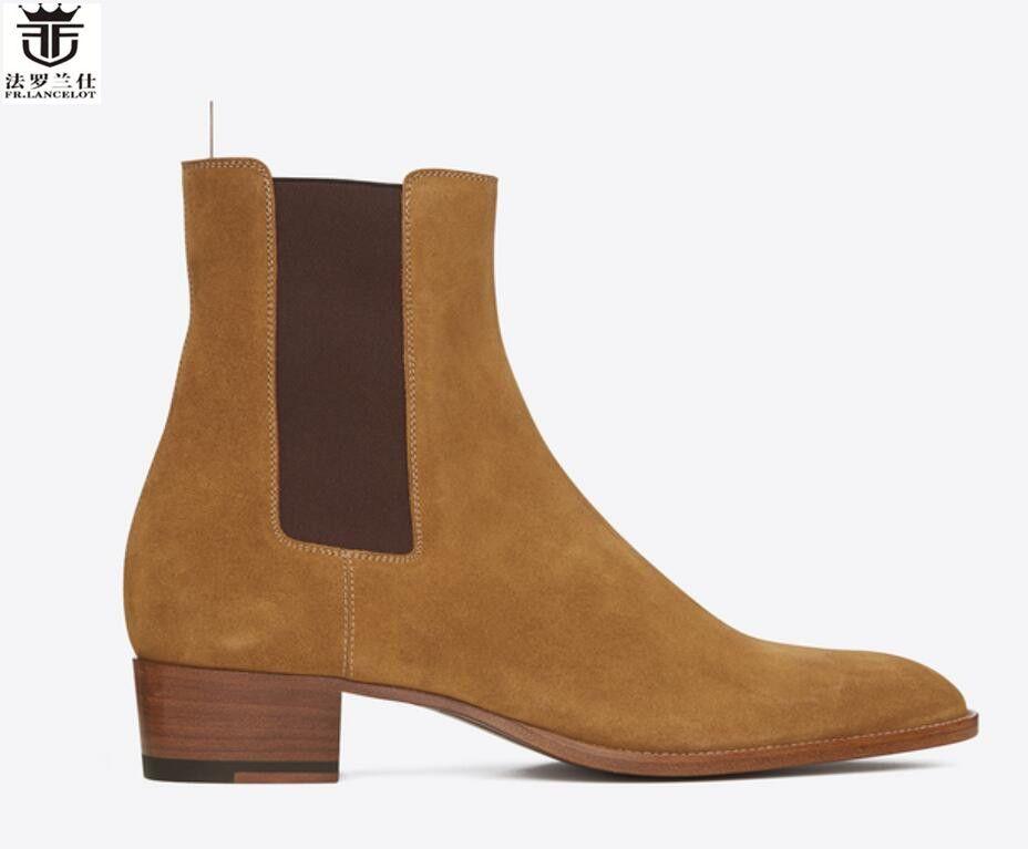 FR. LANCELOT 2018 mode der neuen männer stiefel Britischen spitz wildleder chelsea stiefel leopard männer stiefel slip on booties