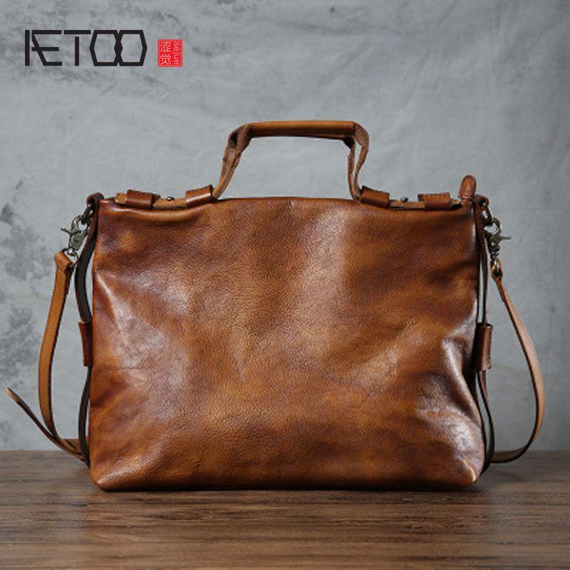 AETOO Original Männer Handtasche Handgefertigt Umhängetasche Retro Leder Tasche Weibliche Gegerbtem Leder Weiche Handtasche