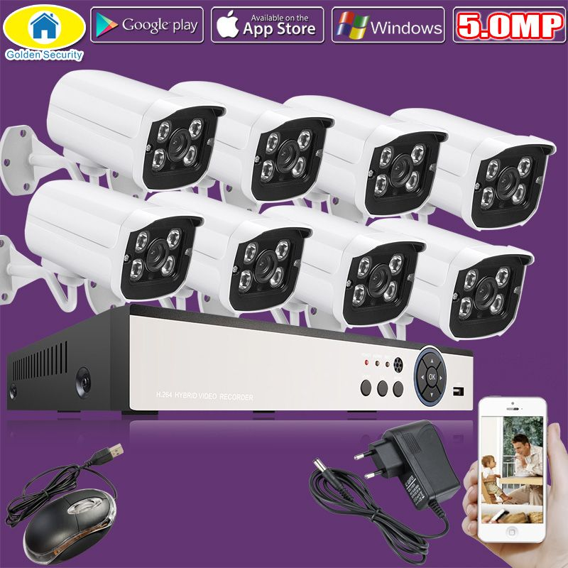Golden Security 8CH 5.0MP 1080N HDMI DVR 1440P HD Outdoor Surveillance Security Camera System 8 Channel CCTV DVR Kit AHD Camera