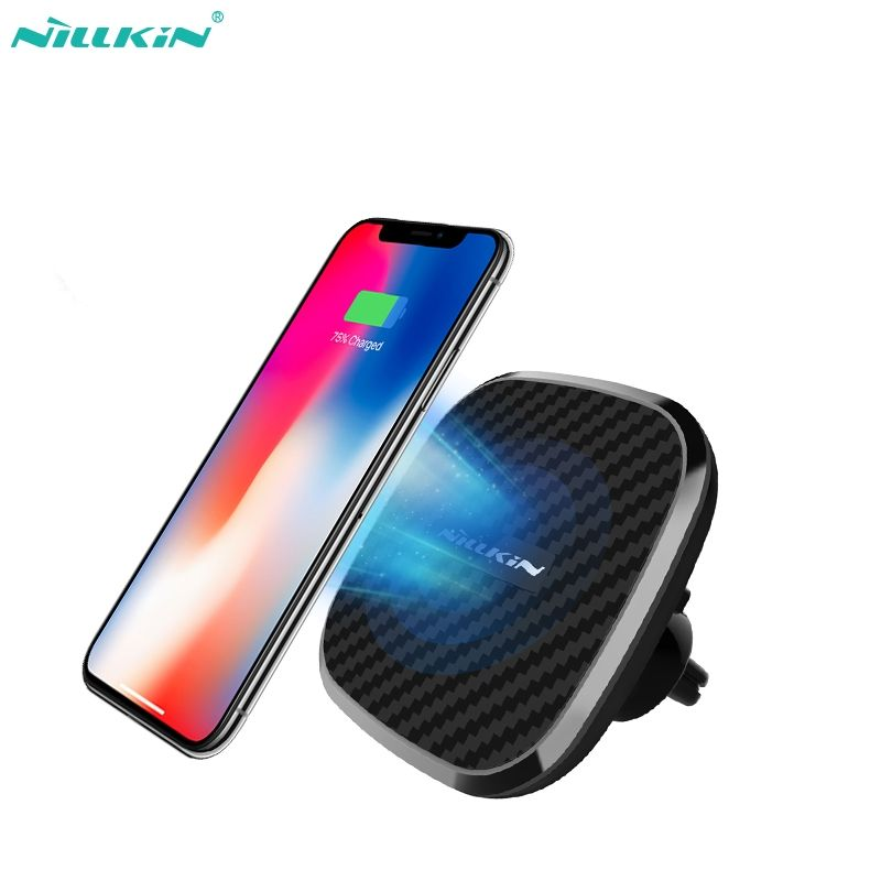 Nillkin 10W Wireless fast Car Charger 2-in-1 Qi Magnetic Wireless Car Mount Charging Pad for iPhoneX 8/8 Plus for Samsung S9/S8