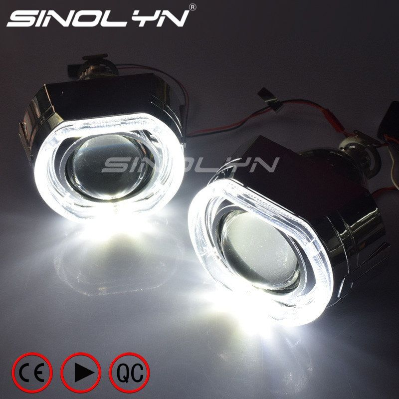 SINOLYN X5 Square LED Angel Eyes Devil Halo DRL Bi Xenon Lens Car Projector Headlight HID Auto Tuning Kit H4 H7, Use H1 Bulbs
