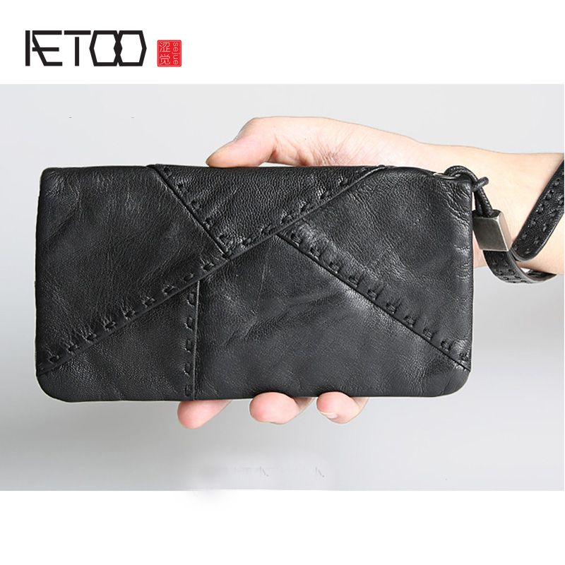 AETOO Ultra-thin men's wallet male leather is the brand splicing cotton sheepskin hand bag long wallet handbag wallet Vintage