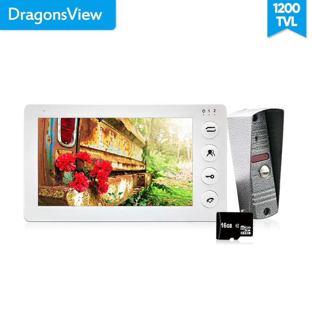 Dragonsview White Video Intercom System Kit 7 Inch Door Monitor Video Door Phone Intercom 1200TVL Recording 16GB SD card Talk