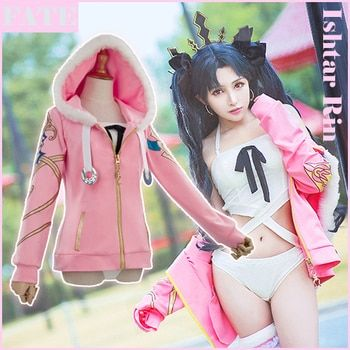 [Stock]Game Anime Fate Grand Order FGO figure Ishtar Rin Swimsuit Hoodie Jacket Daily Cosplay costume New 2018 free ship