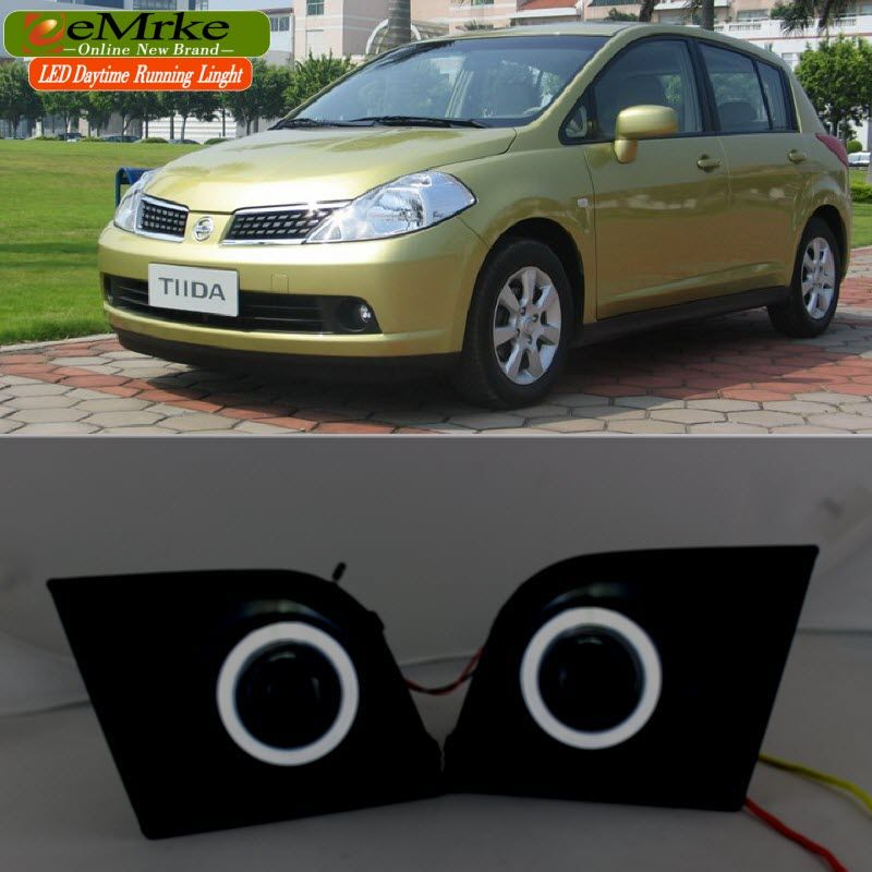 eeMrke For Nissan Tiida C11 2004-2012 LED Angel Eye DRL Daytime Running Lights Halogen Bulbs H11 55W Fog Lights