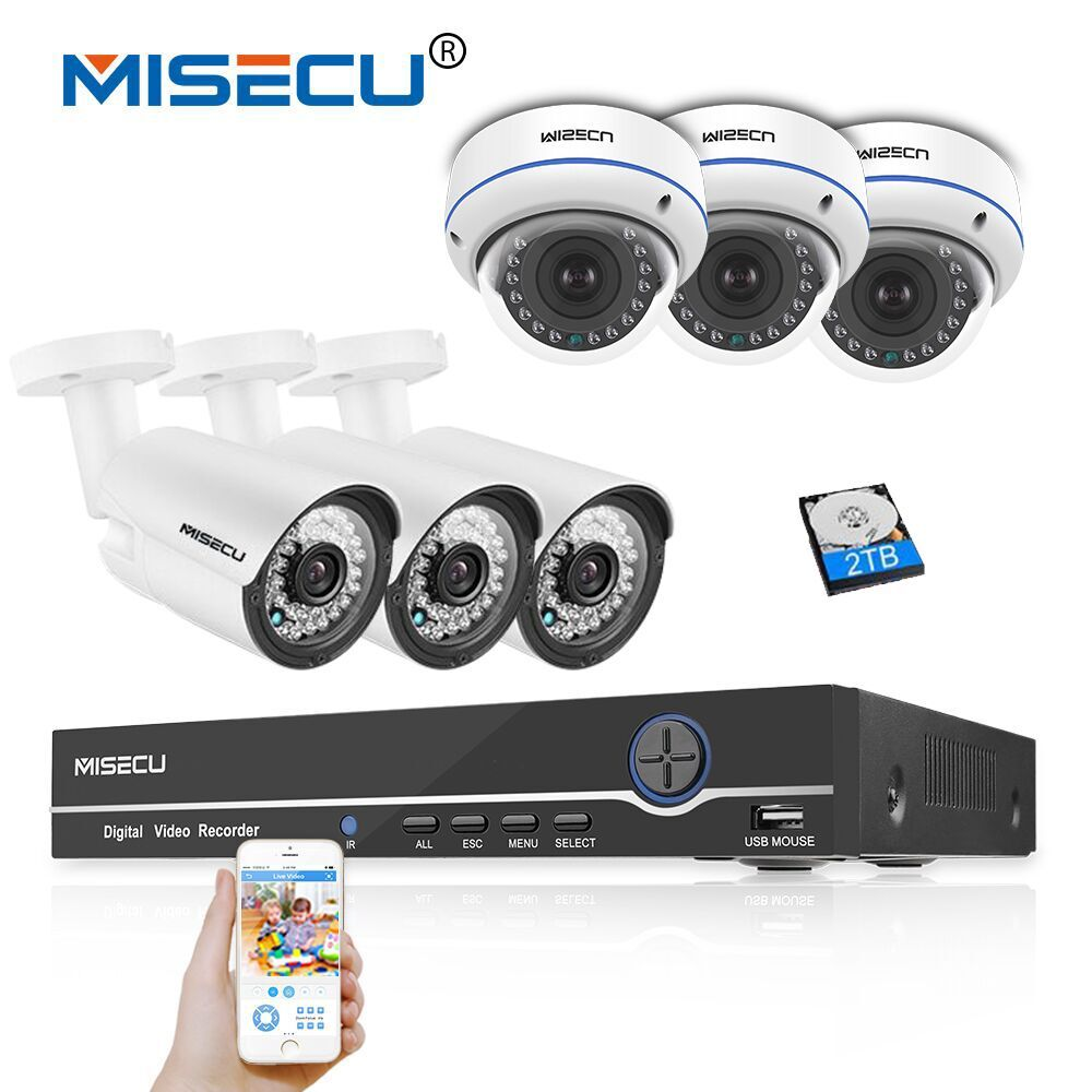 MISECU 8CH 1080P POE CCTV System NVR Kit 6PCS 2MP Vandalproof Dome Camera Waterproof Outdoot Camera P2P Onvif Security POE Kit