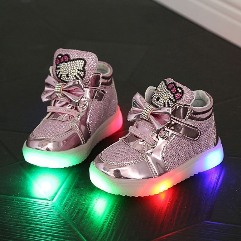 2016 Children Shoes Girls Led Shoes Cartoon Kt Cat Bow Children Sneakers With Light Led Emitting Lights Up Casual Shoes 21-25