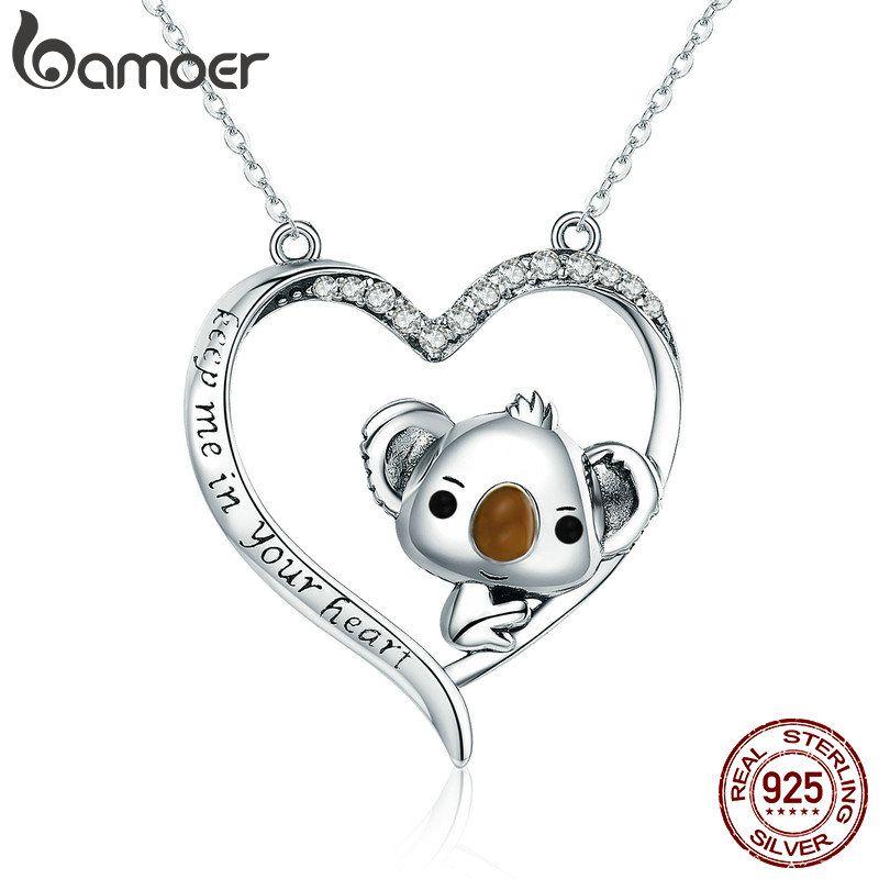 BAMOER Hohe Qualität Echt 925 Sterling Silber Schöne Koala in Herz Anhänger Halsketten für Frauen Sterling Silber Schmuck SCN256