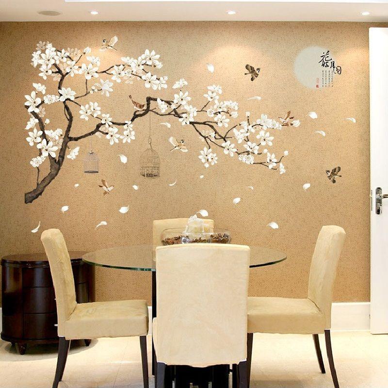Chine Style lune plantes mur autocollant pour chambre fenêtre porte chambre décoration plante avion Mural Pastrol amovible bricolage Wallposter