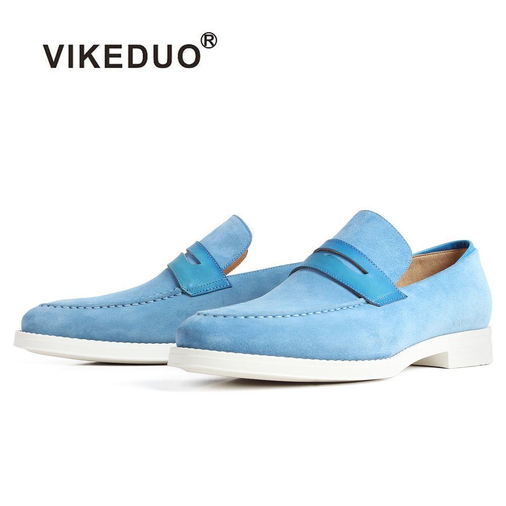 VIKEDUO Neue Casual Kuh Wildleder männer Müßiggänger Schuhe Blau Slip-On Flache Luxus Schuhe Männlich Marke Patina Bespoke angepasst Zapatos
