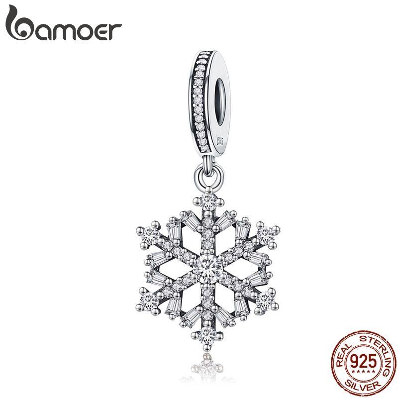 BAMOER Hohe Qualität 925 Sterling Silber Schneeflocke Charms Fit Ursprüngliche Armband Frauen Anhänger Schmuck, Der SCC266