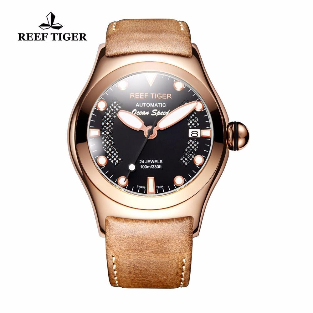 Riff Tiger/RT Rose Gold Sport Uhren Männer Schwarze Skeleton Zifferblatt Leucht Selbst-wicklung Uhren RGA704
