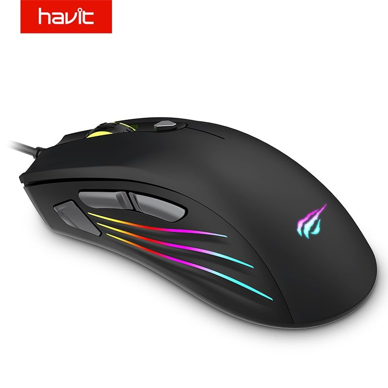HAVIT Gaming Mouse RGB Backlit 7200DPI Programmable 7 Buttons USB Wired Optical Mouse Gamer for PC Computer Laptop HV-MS762