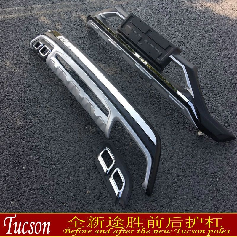 Auto parts Car-covers ABS Front + Rear bumper cover trim 2PCS fit For 2015-2017 Hyundai Tucson Car styling