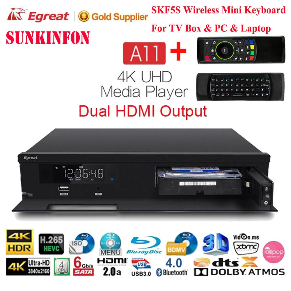 2017 Newest Egreat A11 4K UHD Media Player Hi3798CV200 2G/16G 2T2R WIFI Gigabit LAN HDR10 Blu-ray 3D Dolby Smart Media Player