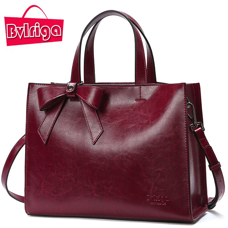 Bvlriga Genuine Leather Bag Female Handbag Women Bag Famous Brand Shoulder Crossbody Bags Women Messenger Bag Tote Bow Tie Big