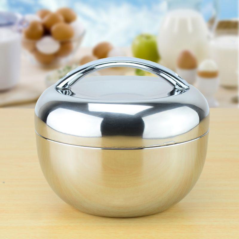 1.3 litres À Double Paroi En Acier Inoxydable pomme Lunch Box boîte de pique-nique avec poignée Thermos Food Container Table Vaisselle 1300 ml